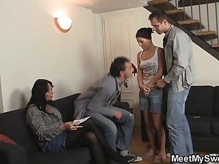 She gets involved into family 3some