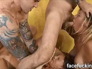 4 uniformly hardcore throat fucking for lesbians Zara & Annabel